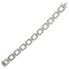 Diamond Bracelet with Rectangular Links 14 Karat White Gold