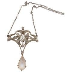 Antique Diamond and Moonstone Pendant Platinum and 14 Karat White Gold