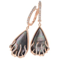 "Frederic Sage Mini Pear-Shaped ""Luna Flame"" Earrings with Black Mother-of-Pearl"