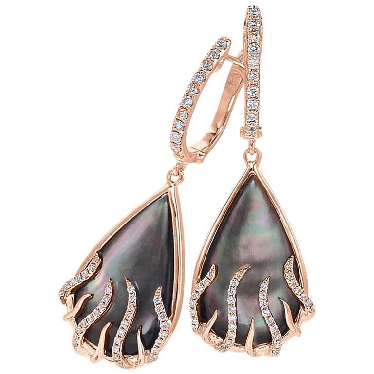 """Frederic Sage Mini Pear-Shaped """"Luna Flame"""" Earrings with Black Mother-of-Pearl"""