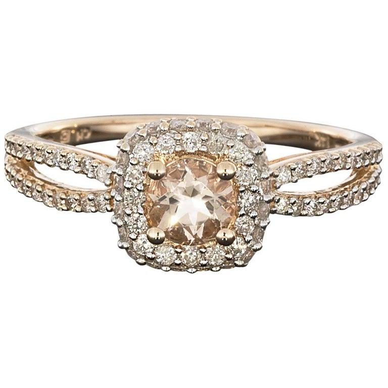 0.65 Carat Morganite and Diamond Halo 14 Karat Rose Gold Engagement Ring