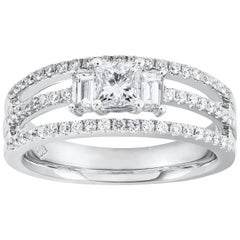 Roman Malakov Princess Cut Diamond Three-Stone Engagement Ring