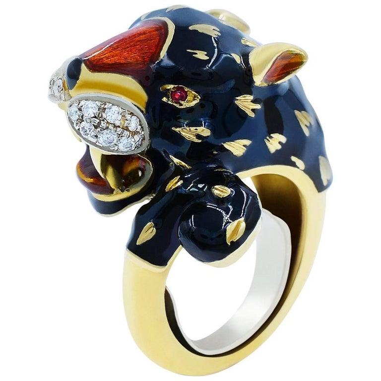 Yellow Gold Black Panther Diamond Cool Fashion Animal 18 Karat Ring For Sale