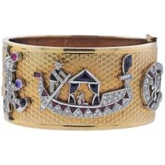 Retro Diamond Gem Set Charm Gold Bangle Bracelet