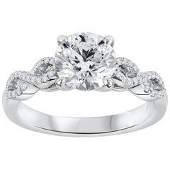 Roman Malakov GIA Certified 1.51 Carat Round Diamond Infinity Engagement Ring