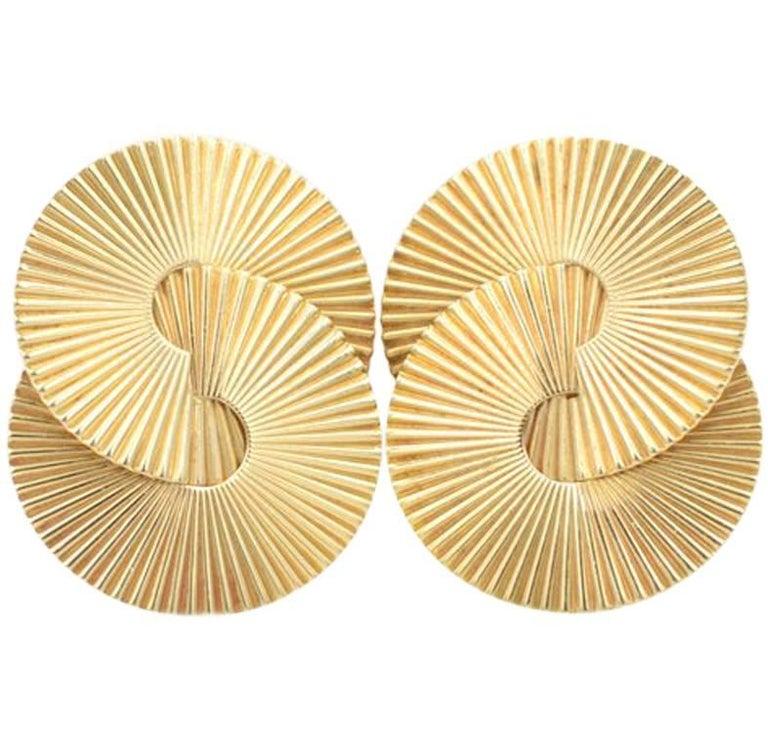Tiffany & Co. Vintage 14 Karat Gold Retro Clip-On Earrings, circa 1950