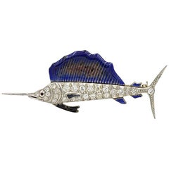 Art Deco Sailfish Brooch in Platinum with Diamonds and Enamel, circa 1930