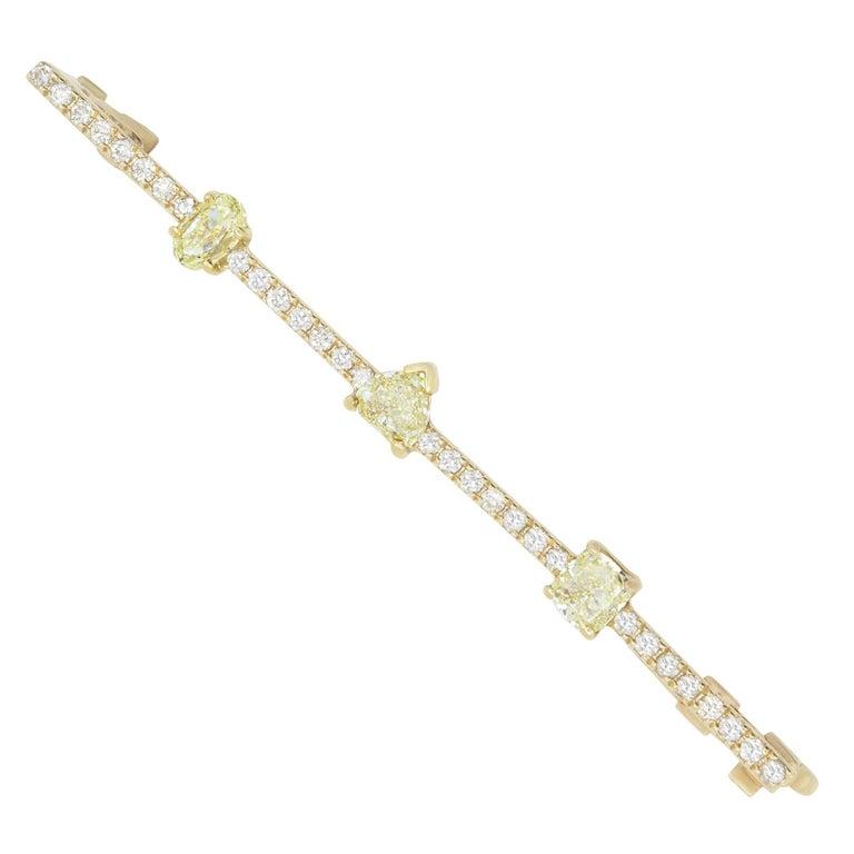 1.07 Carat Natural Yellow Diamond and 0.33 Carat White Diamond Bangle