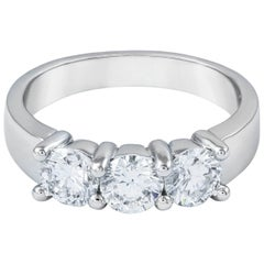1.53 Carat Total Round Diamond Three-Stone Wedding Band