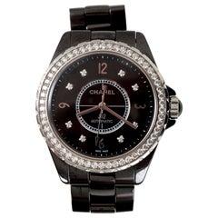 Chanel Ceramic Diamond Dial J12 Automatic Wristwatch H3109 in Original Box