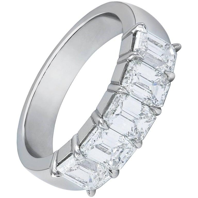 Emerald Cut Diamond Five-Stone Wedding Band