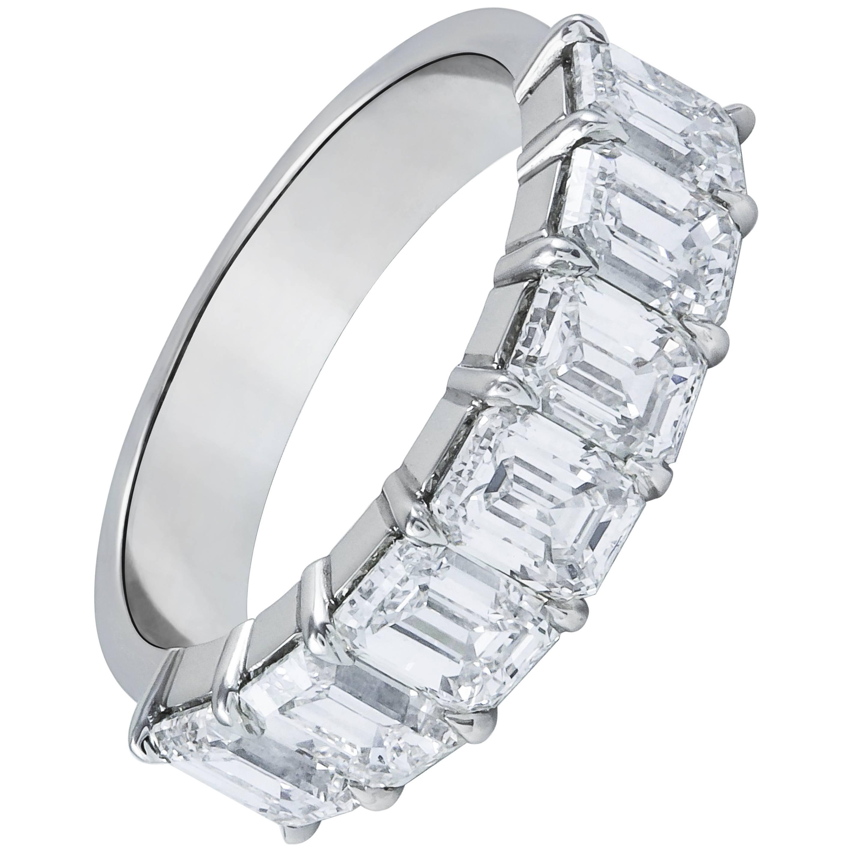 ecde5e2d4870e 3.56 Carat Total Emerald Cut Diamond Seven-Stone Wedding Band