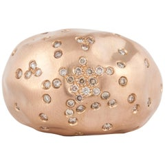 Antonini 18 Karat Rose Gold Diamond Dome Ring