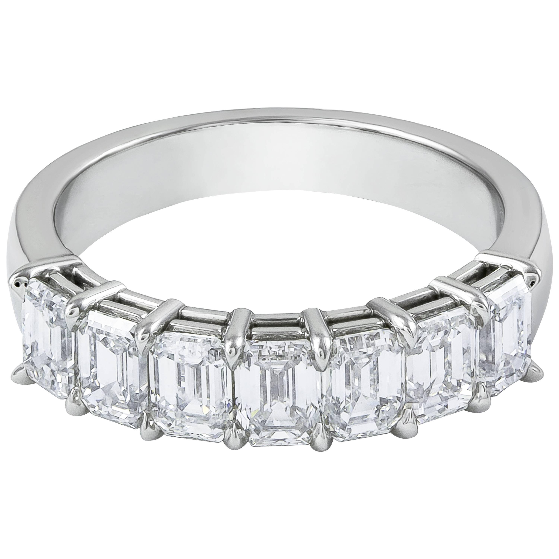 7901e5c1b7d9c 2.13 Carat Total Emerald Cut Diamond Seven-Stone Wedding Band