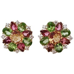 Yellow Gold Multi Stone Flower Earring Stud