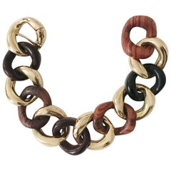 Alternating Multi Wood and Gold Curved Link Bracelet
