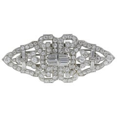 Diamond 10.50 Carat Deco Brooch in the Form of Clips