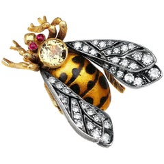 Enamel and Diamond Bee Pin