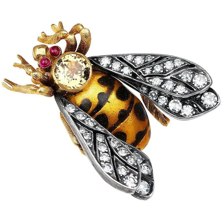 Enamel and Diamond Bee Pin