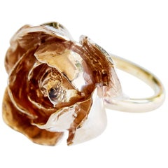 Rose ring in bronze, fashion jewelry symbol of love