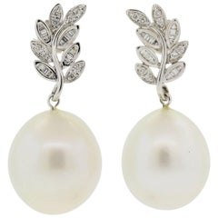 South Seas Pearl and Diamond Gold Earrings