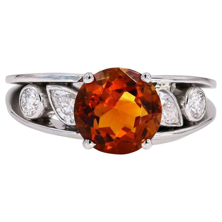 3.00 Carat Round Citrine and Diamond Ring