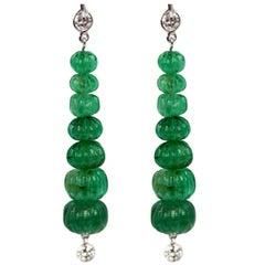 Carved Emerald Beads 18.33 Carat 18 Karat Earrings Diamond Top and Bottom