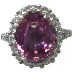 Estate Madagascar Pink Sapphire Oval and Diamond Cocktail Ring