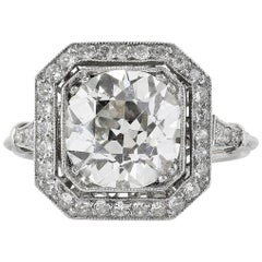 3.10 Carat Old European Cut Diamond Ring