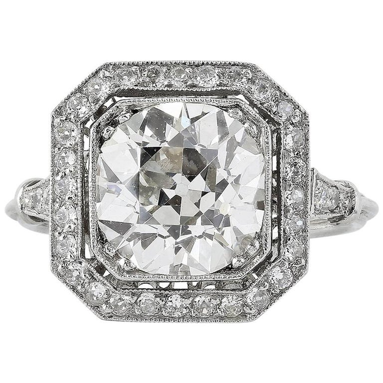 3.10 Carat Old European Cut Diamond Ring For Sale