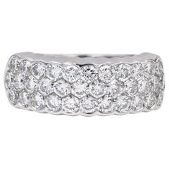 "Three-Row ""Invisible"" Set Diamond Band in 18 Karat White Gold"