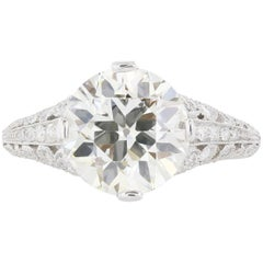 3.58 Carat Diamond in an Antique Scrollwork Mounting