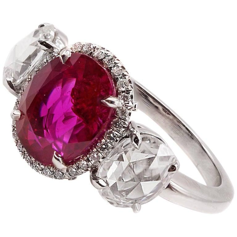 2.73 Carat SSEF Certified Burma Ruby Rose Cut Diamond Platinum Ring