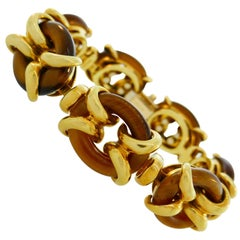 Cartier Tiger's Eye Yellow Gold Bracelet, 1970s