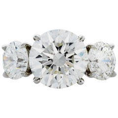 GIA Certified 3.51 Carat Centre Diamond and Two Diamonds Totaling 2.04 Carat
