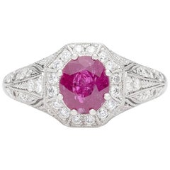 Platinum and Diamond Ring Featuring Burma Ruby