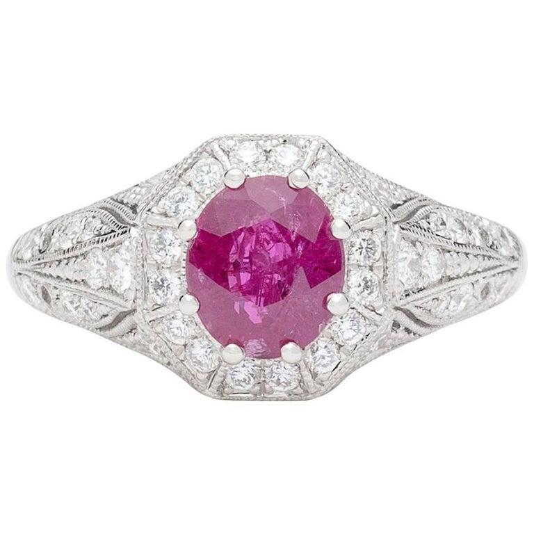 Platinum and Diamond Ring Featuring Burma Ruby