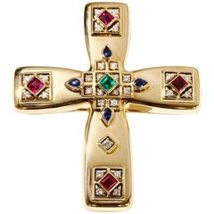 Vintage Cartier Byzantine Cross Pin Pendant 18k Gold Diamonds Rubies Sapphires