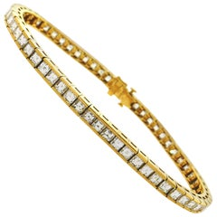 Graff Diamond Yellow Gold Tennis Bracelet, Asscher Cut 5.80 Carat