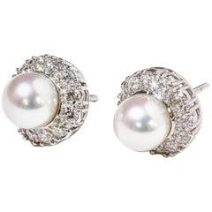 Harry Winston Akoya Pearl and Diamond Earrings Platinum 0.73 Carat Original Box