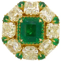 2.24 Carat Emerald Diamond Yellow Gold Ring