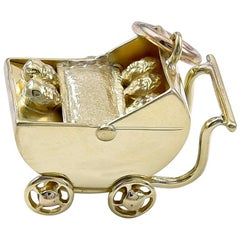 Moon Face Quintuplets in Gold Carriage Charm