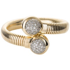 Seaman Schepps 14 Karat Gold & Diamond Tubogas Bracelet