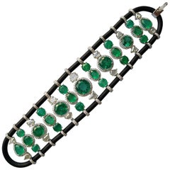 Zambian Emerald and Diamond 18 Karat Gold Bracelet