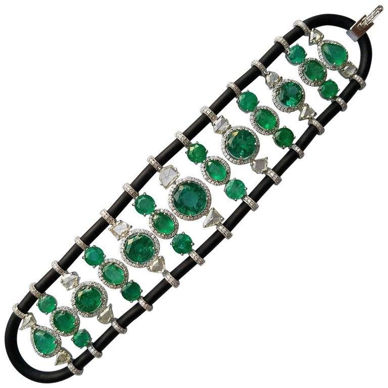 Zambian Emerald and Diamond 18 Karat Gold Bracelet