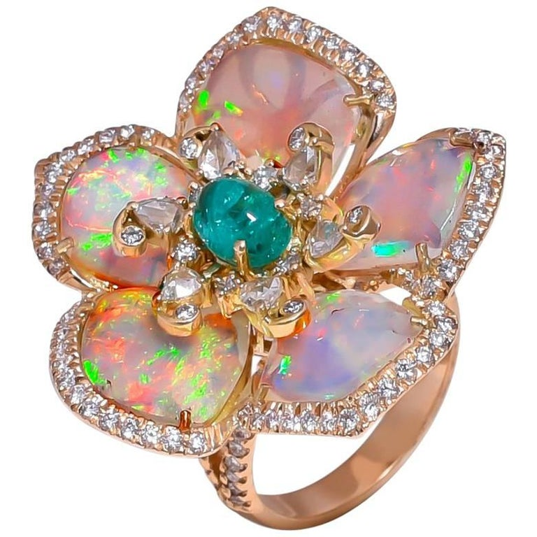 10.30 Carat Opal, Emerald and Diamond Cocktail Ring