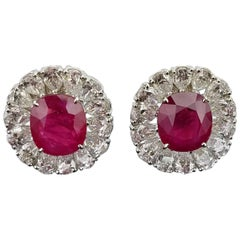 Certified 8.11 Carat Burma Ruby and Diamond Studs Earring