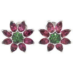 Flower Pink Tourmaline Tsavorite Gold Pierced Unpierced Clip Earrings