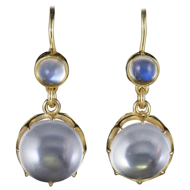 Antique Victorian Moonstone Earrings 9 Carat Gold, circa 1900