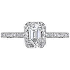 GIA Certified 1 Carat Emerald Cut Diamond Halo Engagement Ring